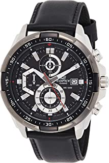 Casio Edifice Men's Black Dial Leather Analog Watch - EFR-539L-1AVUDF