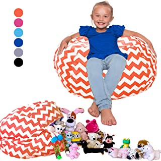 Lilly's Love Kids Organizers and Storage Bean Bag Stuffed Animal Storage Chair Chevron (Orange)