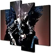 Mixi Art 4 Pcs Travis Scott Rapper Musician Printed Canvas Wall Art Picture Home Décor, Contemporary Artwork, Split Canvases (with Framed, Size 1: 8x16inchx2pcs, 8x22inchx2pcs)