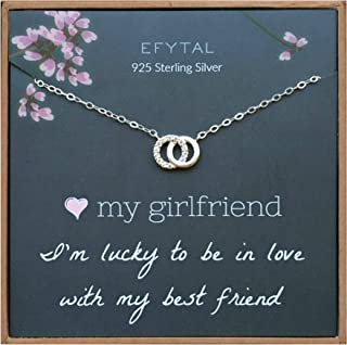 Girlfriend Gifts, Girlfriend Birthday Gift Ideas For Her, Romantic Sterling Silver 925 Small CZ Interlocking Circles Necklace Jewelry for Women, Cute Anniversary / Valentines Day Present