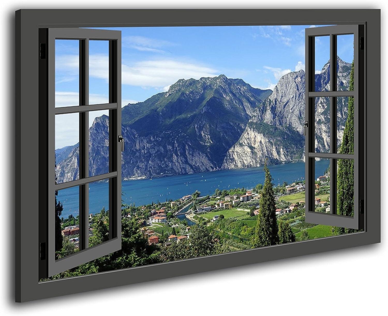 Ayra-Leinwand Wandbild Fensterblick Gardasee-Natur See Berge Landschaft fertig gerahmt (100x70cm, grau)