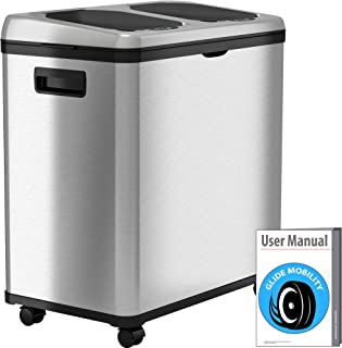 Adealink Trash Can Rectangle Plastic Push-Button Dual Compartment 12liter Recycling Waste Bin Garbage Can