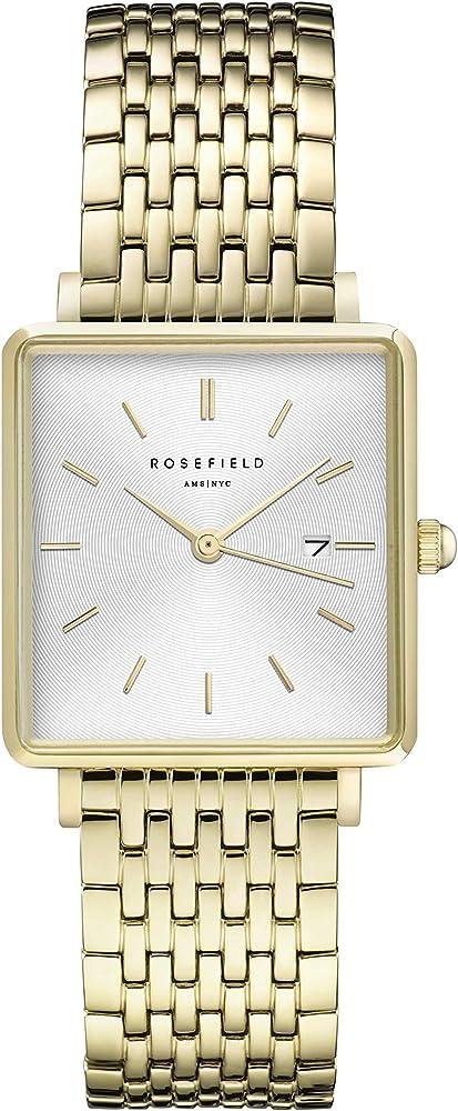 Rosefield the boxy square, orologio da donna, in ottone e acciaio inossidabile QWSG-Q09