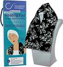 Microwavable Heating Pad Wrap for Neck, Shoulder, and Back Pain | Filled with Clay & Charcoal Beads | Lightly Scented with Lavender | Washable Minky Cover | Black & White Flowers
