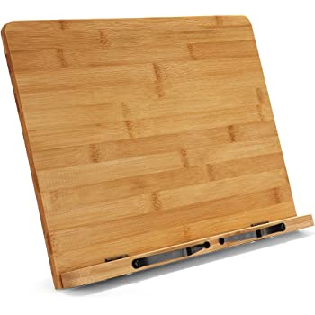 """Large Bamboo Book Stand - Adjustable Foldable Book Holder Tray with Page Holder Clips - Holds Cookbooks, Receipe Books, Textbooks, Tablets, Laptops, Music Books, Documents - 15.2"""" x 11.2"""" Main Board"""