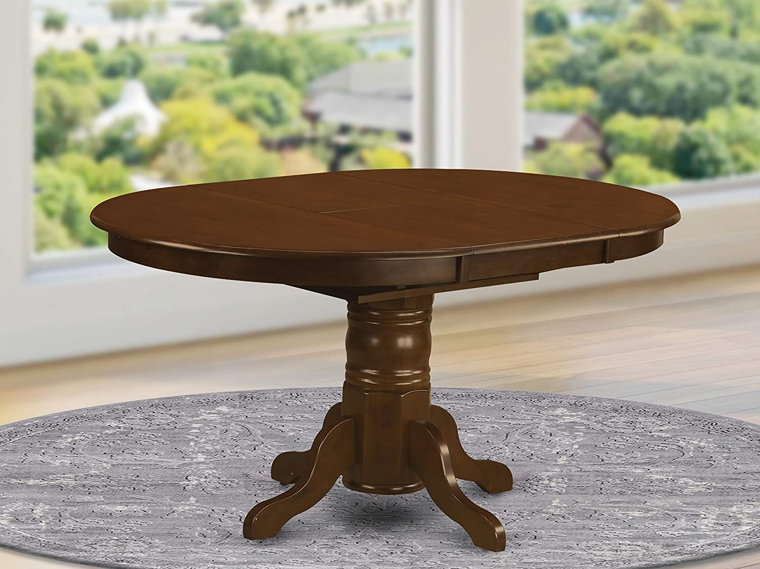 East West Furniture Butterfly Leaf Oval Dining Table   Espresso Table Top  and Espresso Finish Pedestal Legs Solid wood Frame Kitchen Table