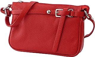 SH Leder ® Echtleder Umhängetasche kleine Tasche Crossbody Bag Messenger Handtasche mit Reißverschluss - Abendtasche City Clutch Party - 22x15cm Yvonne G157