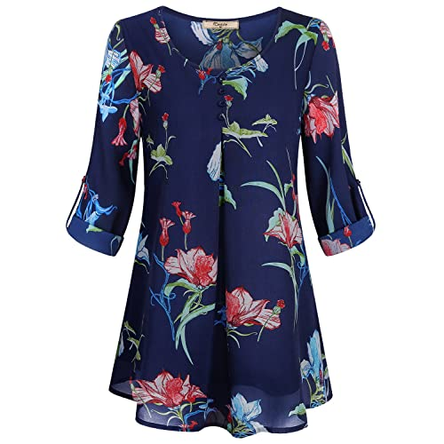 550c4eb9c870 Cestyle Women's Roll-up Long Sleeve Round Neck Layered Chiffon Flowy Blouse  Top