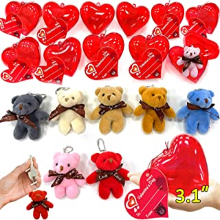 """28 Pack Mini Bear Stuffed Toys Filled Valentines 3"""" Large Heart With 7 Colors Plush Animal Keychain Toys Decoration Valent..."""