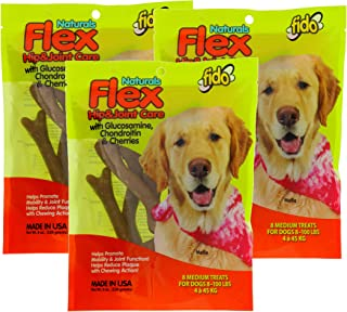 Fido Flex Hip and Joint Care Bones for Dogs, Made with Glucosamine, Chondroitin, and Cherries - Promotes Mobility, Joint Function, and Naturally Reduces Plaque - 8 Medium Treats Per Pack, Pack of 3