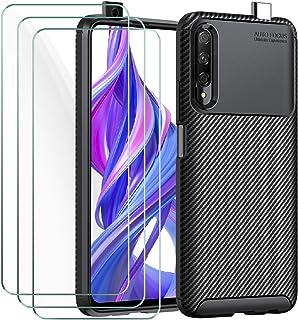 ivoler Fodral till Huawei P Smart Pro 2019/Honor 9X Pro + 3-pack skärmskydd i härdat glas, kolfiberdesign stötdämpande stö...