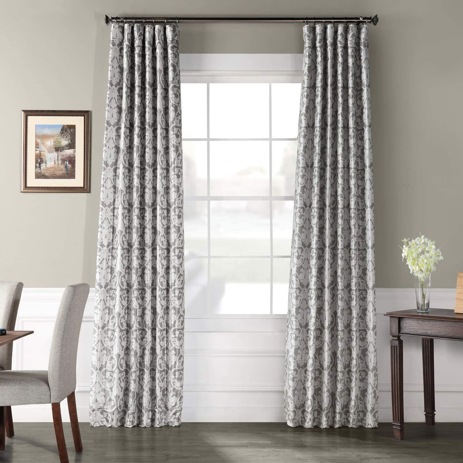 Ptpch-170806B-108 Rococo Printed Faux Silk Taffeta Blackout Curtain, 50 x 108, Grey