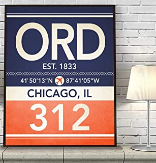 Chicago Illinois ORD 312 Vintage Airport Area Code Map Coordinates Subway Art Print, Unframed, Customized Colors, Home Decor Poster, All Sizes