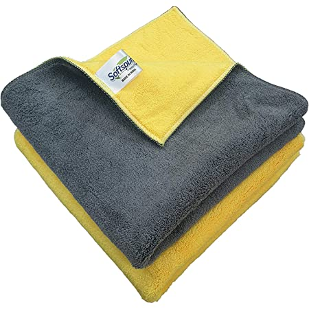 SOFTSPUN 900 GSM, Microfiber Double Layered Cloth 40x40 Cms 2 Piece Towel Set, Extra Thick Microfiber Cleaning Cloths Perfect for  Home, Kitchen, Cars, Furniture and More.