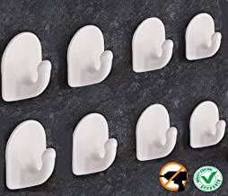 DOCOSS -Pack of 8-Nail Free Self Adhesive Hooks for Wall Hanging Clothes Strong Wall Sticker Hooks Door Hanger Wall Hook Holder for Bathroom, Kitchen- Holds Upto 1 kg (White)
