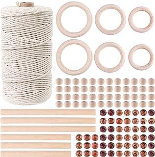 TUPARKA 109 Yadrs 3mm Makramee Garn,Mkramee DIY Set mit 100 Stück Holzperlen 2 Verschiedene Designs 6 Stück Holzring und 6 Stück Holzstab für Kunsthandwerk, DIY Pflanzenhalter