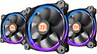 Thermaltake Riing 12 RGB LED 120mm High Static Pressure Adjustable Color Case Radiator Fan with Anti-Vibration Mounting System Cooling . Triple Pack CL-F042-PL12SW-B