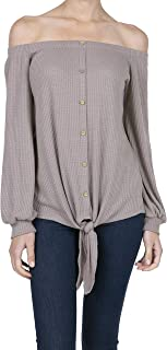 iliad USA Women's Casual Off Shoulder Button Waffle Tie Knot Top Blouse Shirts