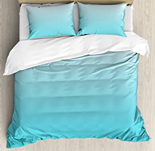 Ambesonne Ombre Duvet Cover Set, Deep Maldives Sealife Ocean Inspired Aquatic Color Modern Design Digital Art, Decorative 3 Piece Bedding Set with 2 Pillow Shams, King Size, Turquoise White