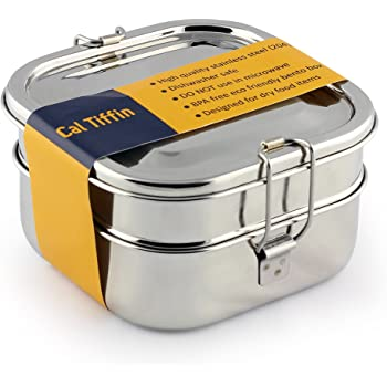 Cal Tiffin Stainless Steel SQUARE Bento Box food container (made in INDIA) 40 oz, 3-compartment - Eco friendly, Dishwasher safe, BPA free