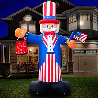 Holidayana 4th of July 10 ft Uncle Sam Inflatable - Fourth of July Inflatable Outdoor Decoration, Independence Day Uncle S...