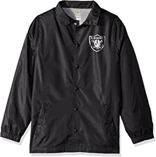 NFL Youth Boys Bravo Coaches Jacket-Black-M(10-12), Oakland Raiders