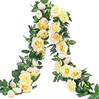 PARTY JOY 6.5Ft Artificial Rose Vine Silk Flower Garland Hanging Baskets Plants Home Outdoor Wedding Arch Garden Wall Decor,2PCS (Champagne)
