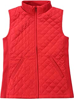 Bienzoe Women Casual Zip Quilted Sleeveless Light Weight Vest Stretch Rib