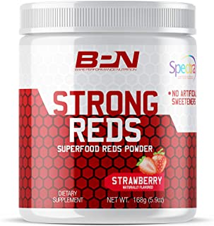 Bare Performance Nutrition, Strong Reds Superfood Powder, No Artificial Sweeteners, Antioxidant, Naturally Boost Energy, Fruit Powder, Digestive Enzyme (30 Servings, Strawberry)