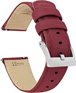 BARTON Watch Bands - Sailcloth Quick Release Straps - Premium Nylon Weave - Soft Leather Lining - Choice of Color and Width - 18mm, 19mm, 20mm, 21mm, 22mm, 23mm, or 24mm