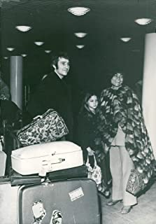 Vintage photo of Eartha Kitt with daughter Kitt at Heathrow airport for departure to Germany