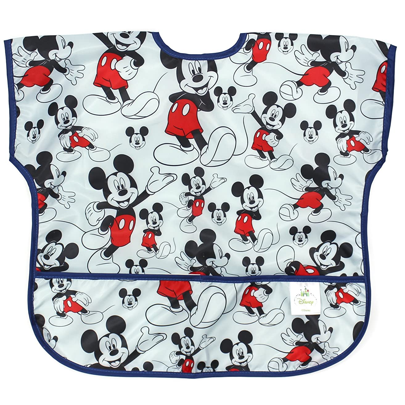 Bumkins Disney Mickey Mouse Junior Bib / Short Sleeve Toddler Bib / Smock 1-3 Years, Waterproof, Washable, Stain and Odor Resistant –  Classic