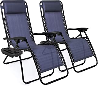 Best Best Choice Products Set of 2 Adjustable Steel Mesh Zero Gravity Lounge Chair Recliners w/Pillows and Cup Holder Trays, Blue Reviews