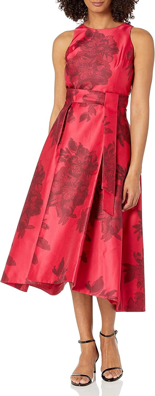 Tahari by ASL Printed Jacquard Sleeveless Party Dress Black Ruby Floral 4