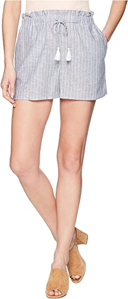 Paperbag Waist Linen Stripe Shorts