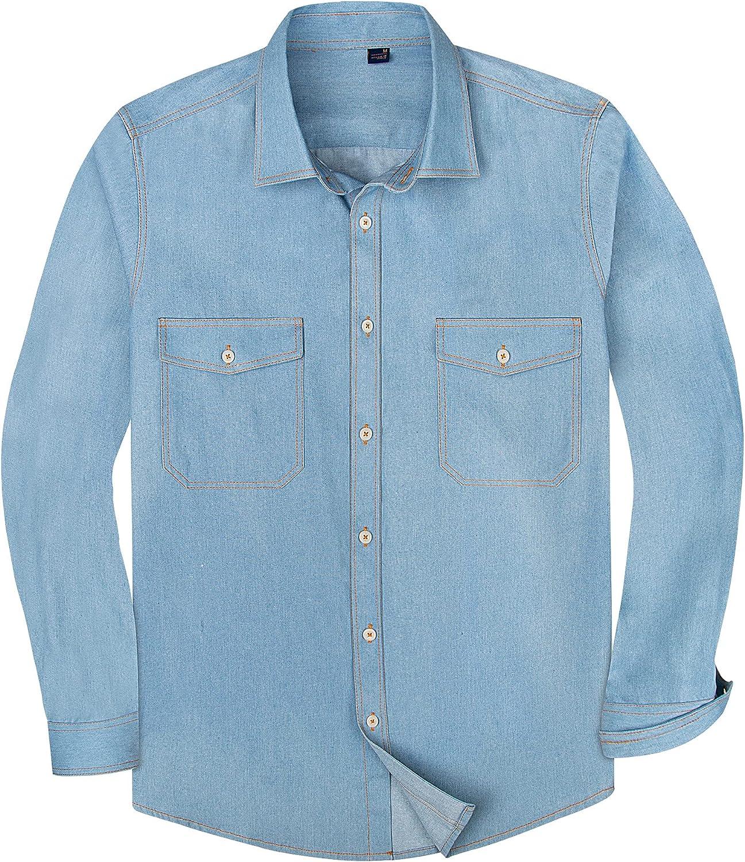 Alimens & Gentle Men's Long Sleeve Regular Fit Casual Button Down Shirt
