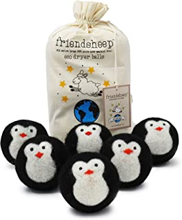 Friendsheep Organic Eco Wool Dryer Balls - Black Penguin - Handmade, Fair Trade, No Lint - Cool Friends Pack of 6