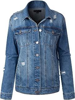 BEYONDFAB Women's Color Zipper Long Sleeve Cropped Denim Jacket