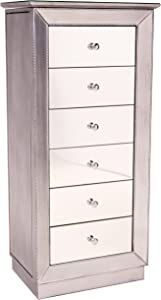 Hives and Honey Mika Mirrored Jewelry Armoire Cabinet Storage Box Chest Wood Silver Finish Stand Organizer Wood with Side Drawers
