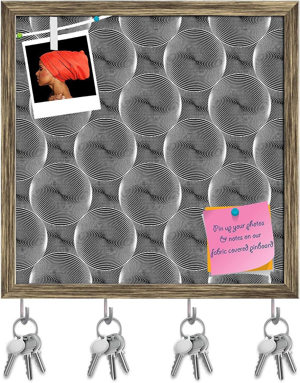 Artzfolio Monochrome Sphere Key Holder Hooks   Notice Pin Board   Antique golden Frame 20 X 20Inch