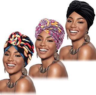 Mudder 3 Pieces African Turban for Women Pre-Tied Flower Knot Headwrap Beanie Bonnet Cap