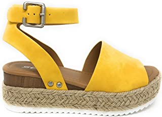 f6432959478 Womens Casual Espadrilles Trim Rubber Sole Flatform Studded Wedge Buckle  Ankle Strap Open Toe Sandal