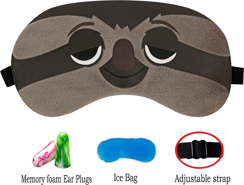 M/áscara de dormir lindo 3D esponjoso animal m/áscara de ojos para dormir viaje transpirable sombra de ojos de dibujos animados m/áscara ni/ños adultos mujeres