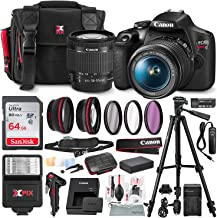 Canon T7 EOS Rebel DSLR Camera with EF-S 18-55mm f/3.5-5.6 is II Lens and UV Filter Set + Battery Power Kit & 64GB SD Card Deluxe Accessory Bundle