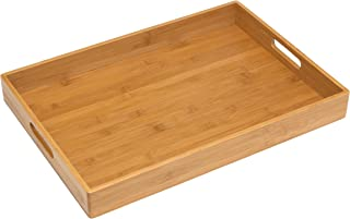 "Lipper International 8865 Solid Bamboo Wood Serving Tray, 19.75"" x 13.75"" x 2.25"""