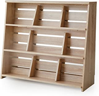 LOWYA (ロウヤ) 本棚 マンガ収納 スライド&ディスプレイ ブックエンド 木製 リアル木目 幅90 下段 単品 ナチュラル おしゃれ 新生活
