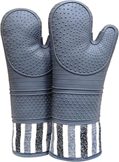 RED LMLDETA Heat Resistant 550 Degree Oven mitt, Silicone Oven Hot Mitts - 1 Pair, Extra Long Professional Baking Oven Gloves - Food Safe,Pot Holders Cooking,Grilling,Kitchen (Grey)