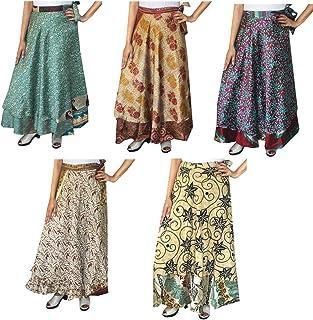 Wholesale 5 Pcs Lot Two Layers Women's Indian Sari Magic Wrap Around Long Skirt