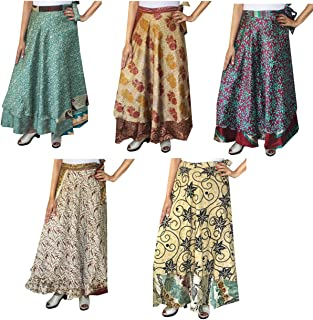 Wholesale 5 Pcs Lot Two Layers Women's Indian Sari Magic Wrap Around Long Skirt