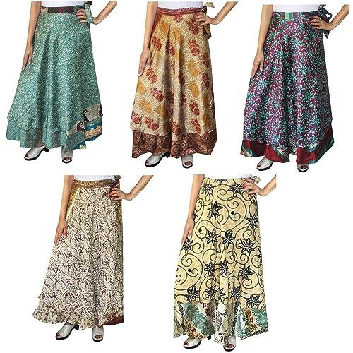b454dff13e Maple Clothing Wholesale 5 Pcs Lot Two Layers Women's Indian Sari Magic Wrap  Around Long Skirt